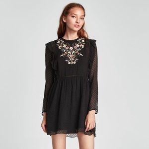 Zara DOTTED MESH DRESS WITH FLORAL EMBROIDERY